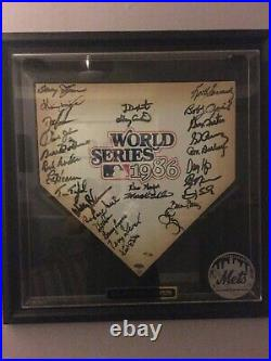 1986 Team Signed Home Plate with Steiner Hologram in Display Case