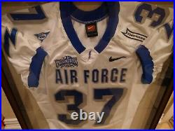 Air force falcons jersey Game Worn Used #37 in wood frame display case
