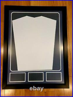 Football Framed Soccer Jersey Display Case Blue/Red Color with Photo Displays x3