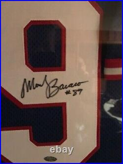 Football Jersey Display case with Signed Mark Bavaro jersey