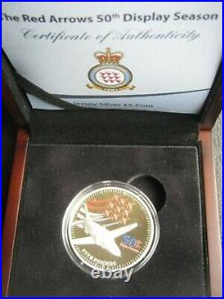 Jersey 2014 £5 Pound Silver Proof Coin Red Arrows 50th Display Season COA Case