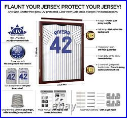 Jersey Display Frame Mahogany Finish Case Large Shadow Box Lockable with UV and