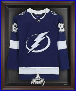 Tampa Bay Lightning 2021 Stanley Cup Champions Brown Framed Jersey Display Case