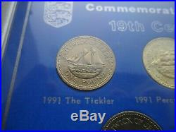 Uncirculated Jersey shipbuilding series £1 one pound set in display case